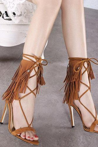 Stylish Open-toe Lace-up Hollow-out Tassel Design Stiletto Super High Heel Brown PU Ankle Strap Sandals