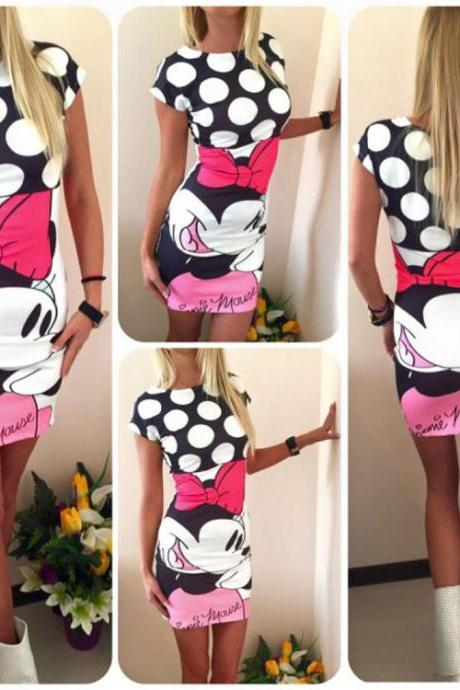 Women Fashion Cute Casual Minnie Mouse Printed Bodycon Sexy Party Dress