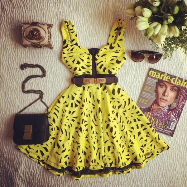 Yellow Sexy Party Cocktail Sleeveless Strap Lace Mini Summer Dress